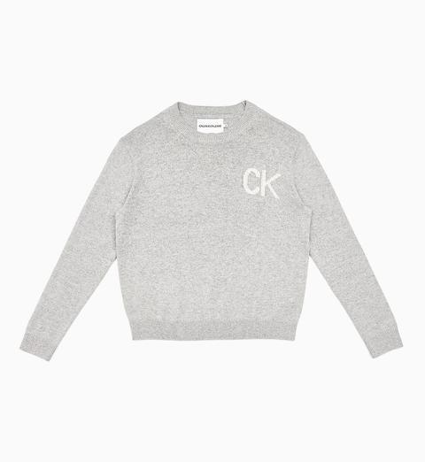 Jersey De Lana Y Algodón Con Logo de Calvin Klein en 21 Buttons