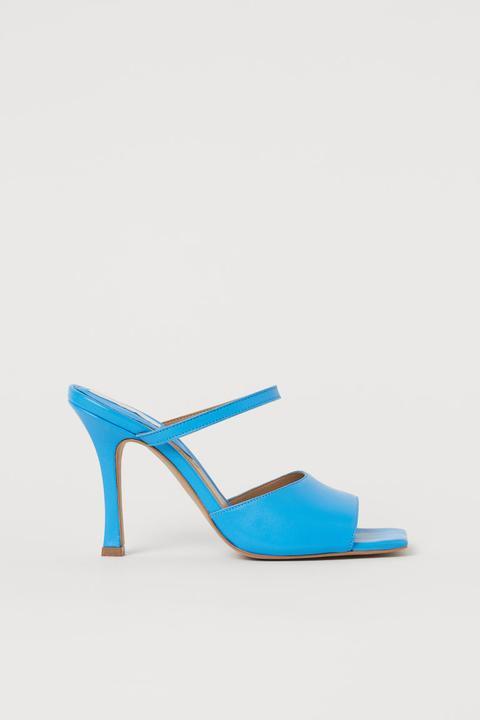 Sandalias Abiertas De Piel - Azul