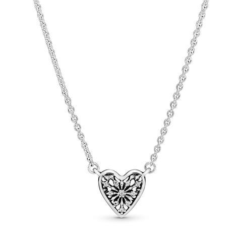 Collar En Plata De Ley Corazón De Invierno Pequeño de Pandora en 21 Buttons