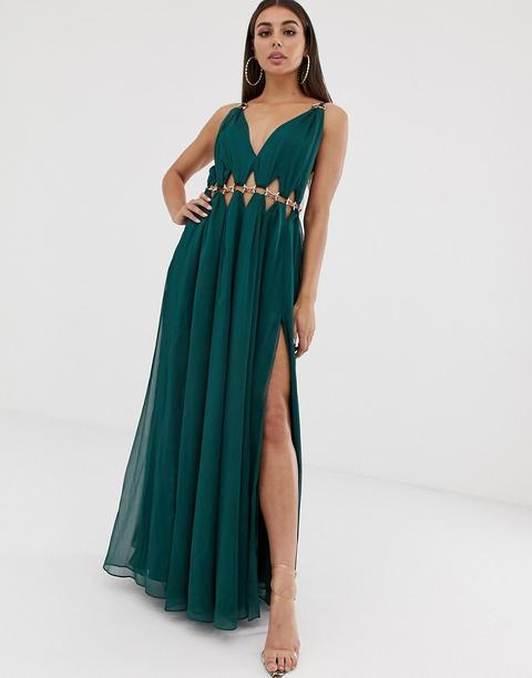 Vestido Largo Con Ribete De Círculos De Metal En La Cintura De Asos Design-verde