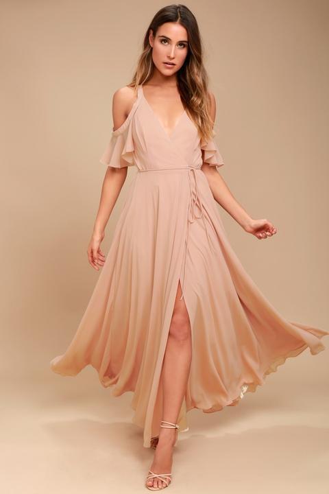 Easy Listening Blush Off-the-shoulder Wrap Maxi Dress - Lulus de Lulus en 21 Buttons