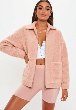 Rosa Pink Teddy Coat de Missguided en 21 Buttons