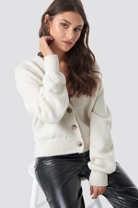 Cropped Oversized Cardigan Blanc