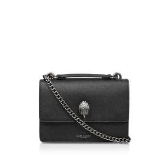 Kurt Geiger London Shoreditch Cross Body - Black Caviar Leather Cross Body Bag