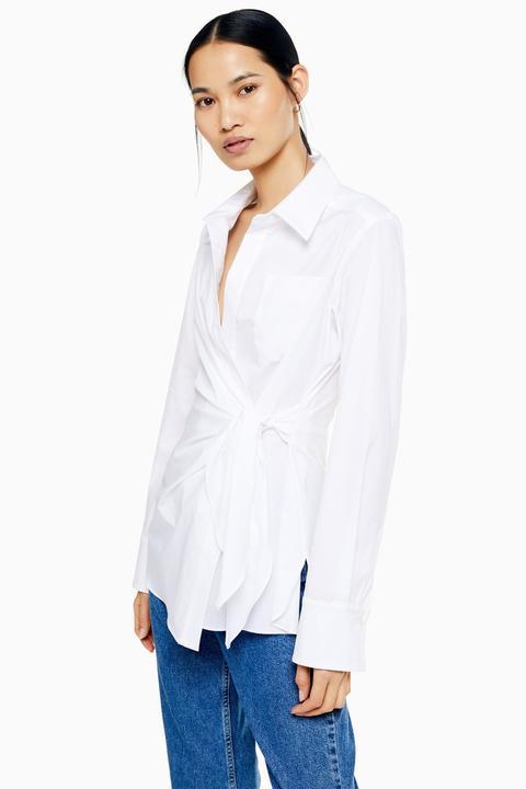 womens white wrap shirt