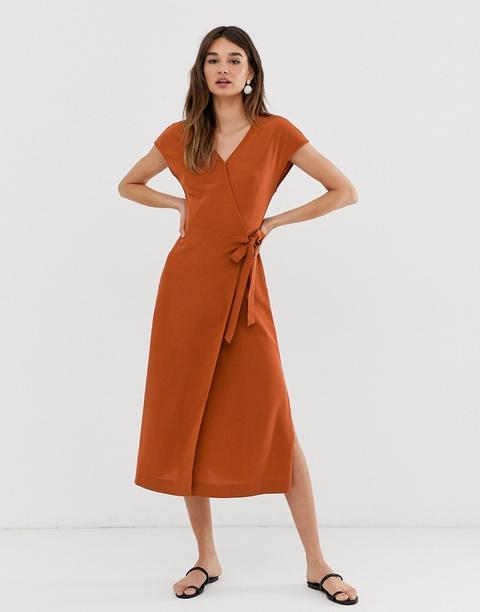 Vestido Midi Cruzado De Manga Corta En Color Teja De Monki-marrón