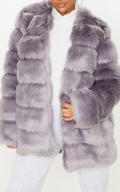 Grey Faux Fur Bubble Coat