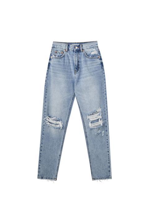 Jeans Mom Fit Rotos Rodilla - Algodón Orgánico (al Menos 50%)