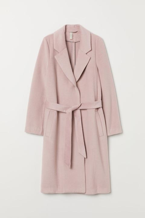 Abrigo Afieltrado Con Cinturón - Rosa de H&M en 21 Buttons