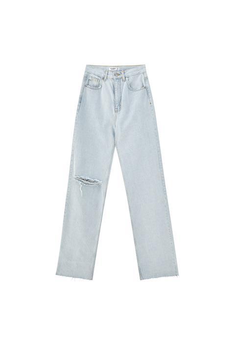 Jeans Rectos Tiro Alto