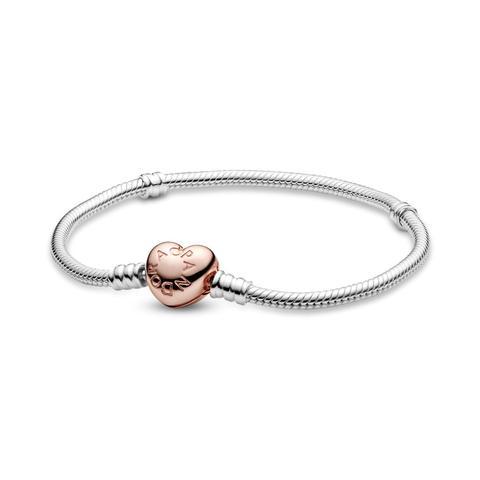 Pulsera Moments Pandora Rose Con Cierre Corazón Para Charms de Pandora en 21 Buttons