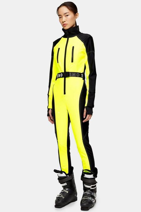 **neon Yellow Fitted Ski Snow Suit By Topshop Sno de Topshop en 21 Buttons