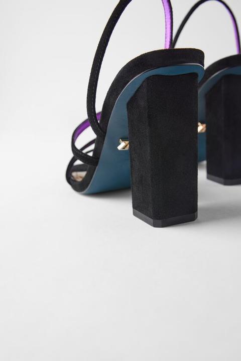 Sandalia Tacón Piel Tiras Blue Collection