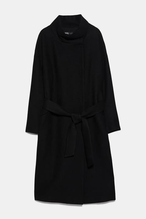 Abrigo Cuello Alto Cinturón de Zara en 21 Buttons