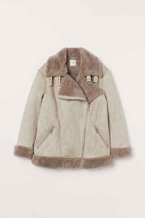 Cazadora Motera Con Peluche - Marrón de H&M en 21 Buttons