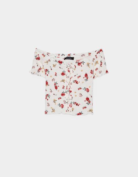 Cropped-shirt Mit Carmen-ausschnitt