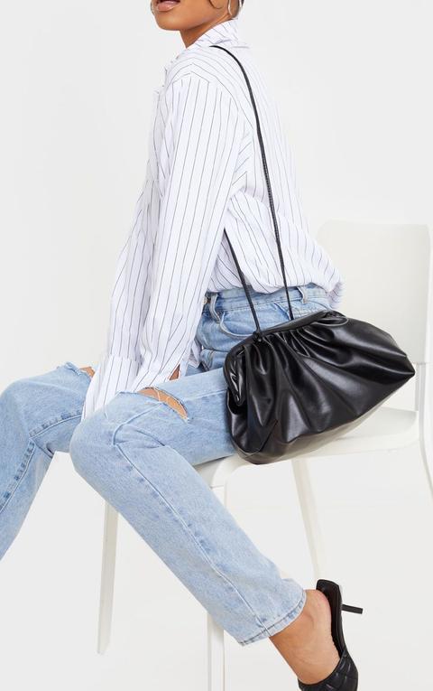 Black Pu Ruched Oversized Clutch Bag