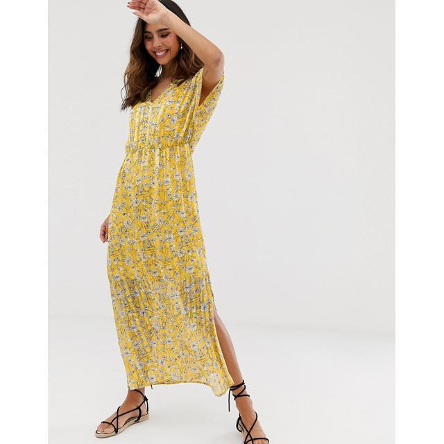 Vero Moda Robe Longue Transparente A Rayures Et Imprime Fleuri Jaune From Asos On 21 Buttons