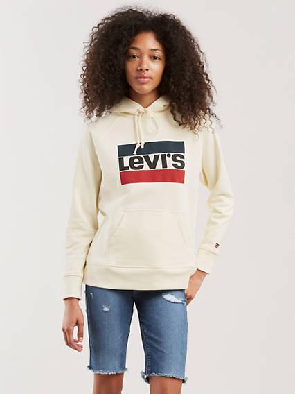 Graphic Sport Hoodie Blanco / Sportswear Hoodie Marshmallow de Levi's en 21 Buttons