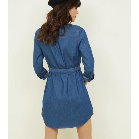 Robe Chemise En Jean Léger Taille Haute À Nouer Bleue