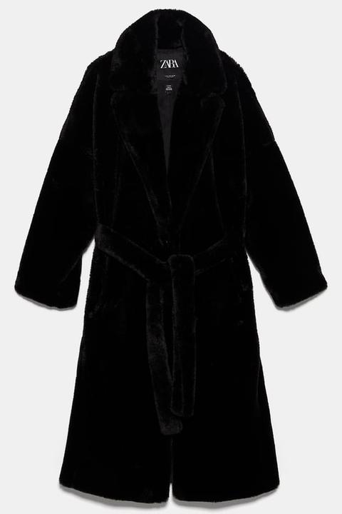 Abrigo Efecto Pelo Cinturón de Zara en 21 Buttons