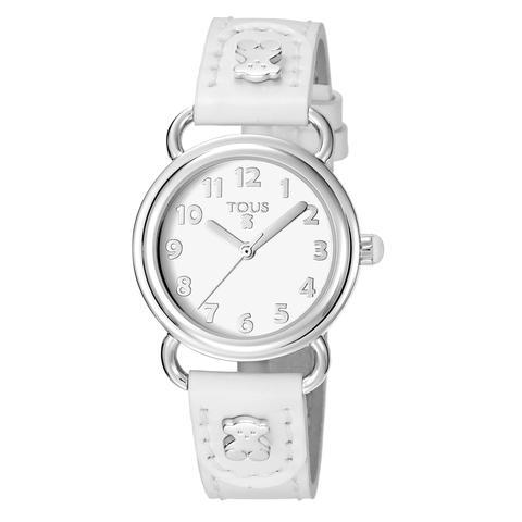 Reloj Baby Bear De Acero Con Correa De Piel Blanca
