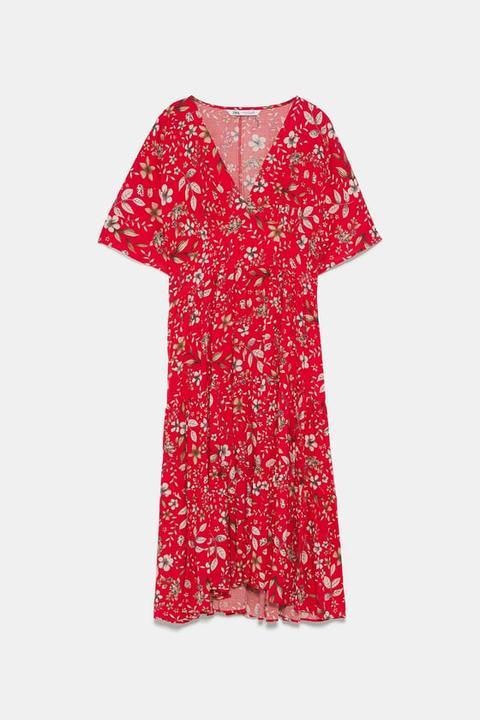 Zara From 21 Vestido Midi Estampado On Floral Buttons PXiZuOk