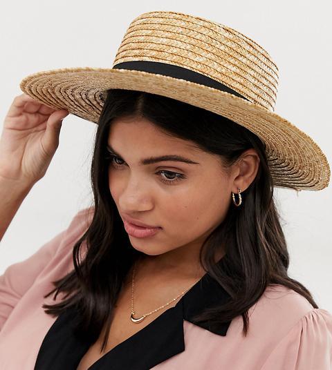 Sombrero Canotié De Paja Con Cinta Negra De South Beach