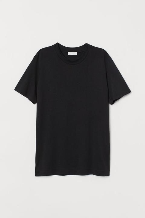 T-shirt Aus Seidenmix - Schwarz - Damen