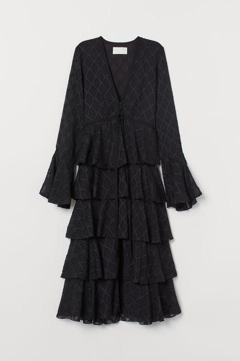 Vestido Con Estampado Jacquard - Negro de H&M en 21 Buttons