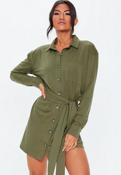 Khaki Jersey Tie Waist Utility Shirt Dress, Khaki