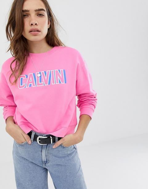 Sudadera Corta Con Logo Retro De Calvin Klein-rosa