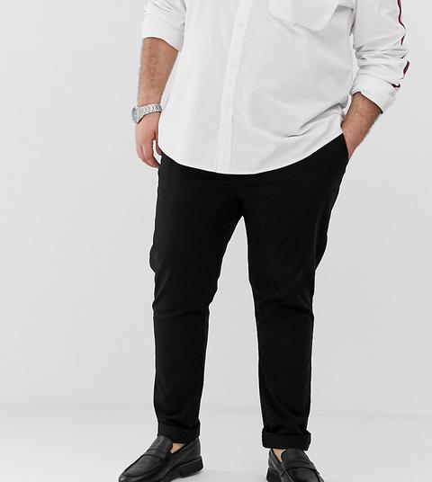 Asos Design Plus - Pantalon Chino Ajusté - Noir