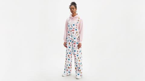 Hello Kitty Baggy Overall Bleu / Kitty White