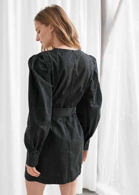 Belted Organic Cotton Twill Mini Dress