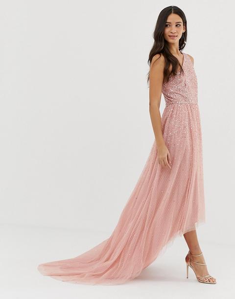 Vestido Largo De Graduación Con Diseño Asimétrico Y Adornos En Rosa De Dolly & Delicious de ASOS en 21 Buttons