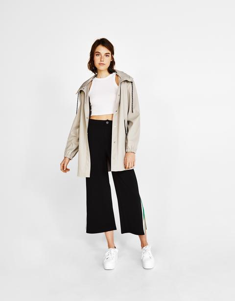 Pantaloni Culotte Con Striscia Laterale