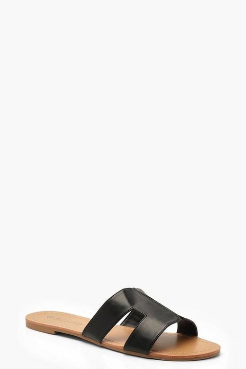 Womens Wide Fit Sliders - Black - 3