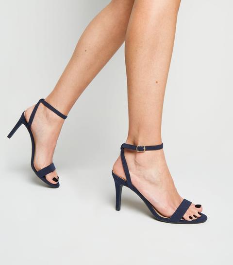 New Look Suedette Ankle Strap Stiletto Heels Navy