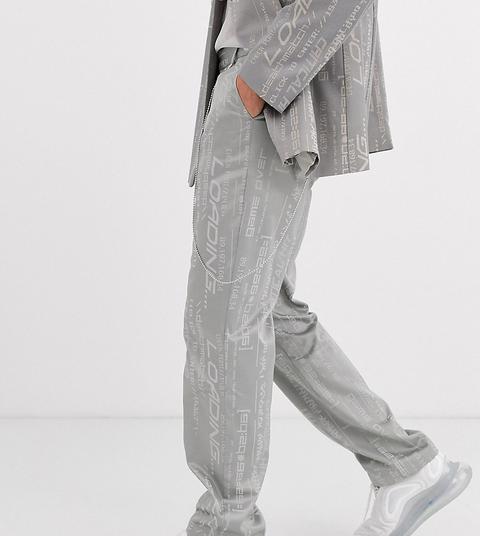 Pantalones Rectos De Jacquard Con Cinturón De Cadena De Collusion-gris