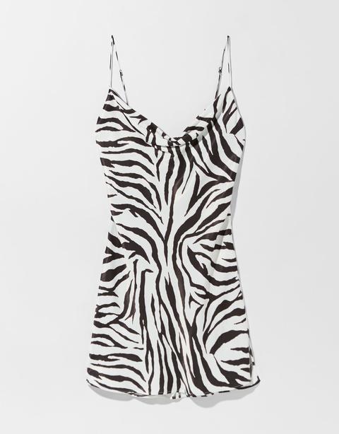 Vestido Mini Satén Print Cebra