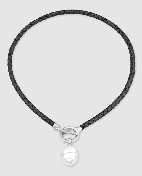 Majorica - Collar De Cuero Negro Con Perla Barroca