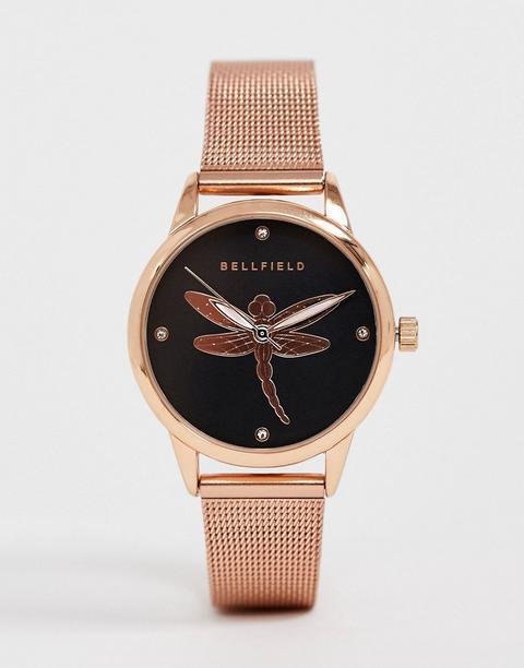 Reloj Dorado Rosa De Mujer De Malla Con Detalle De Libélula De Bellfield