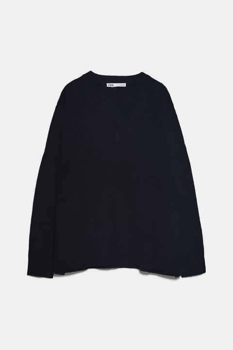 Jersey Oversize Cashmere Cuello Pico de Zara en 21 Buttons