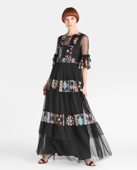 Fiesta El Corte Inglés - Vestido De Mujer De Tul Negro Con Bordados