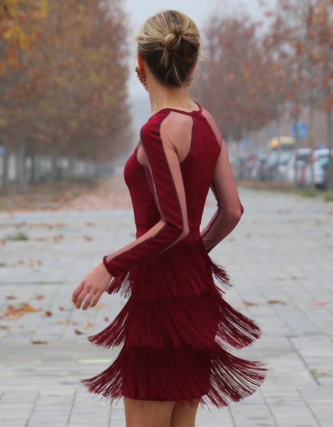 Vestido Flecos Vino