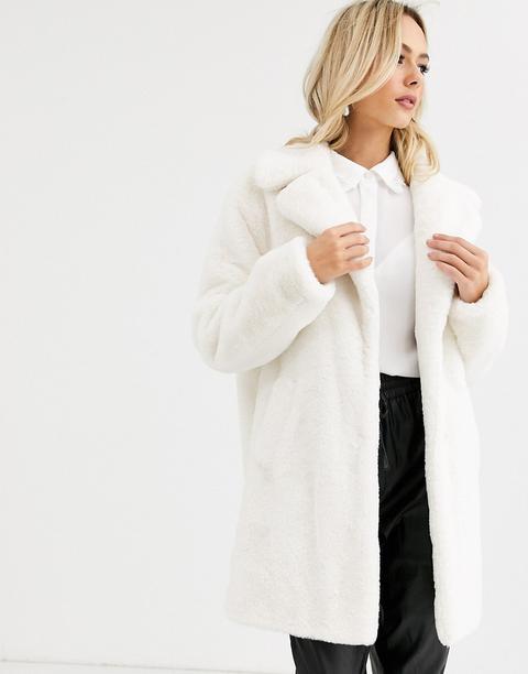 Abrigo Color Crema De Pelo Sintético De New Look de ASOS en 21 Buttons