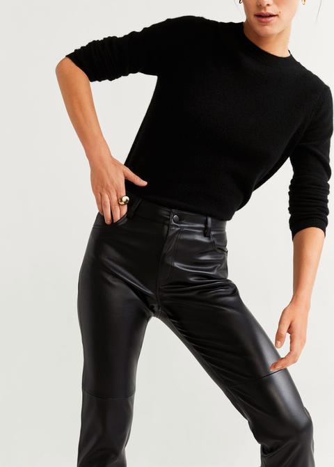 Pantalón Recto Efecto Piel