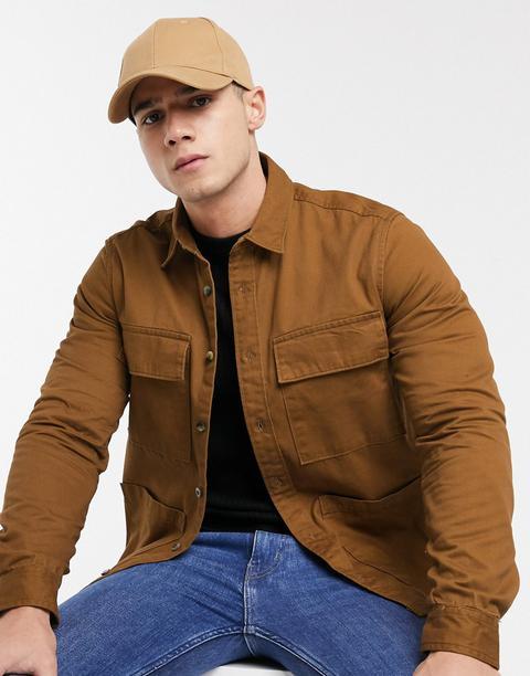 Burton Menswear Overshirt In Rust-brown