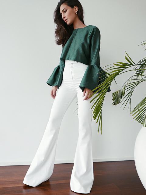 Pantalones De Campana Blancos